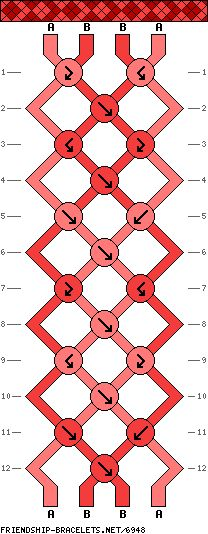 4 strings, 12 rows, 2 colors