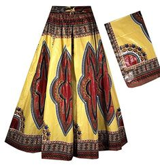 Decoraapparel Women& African Dashiki Maxi Skirt Long High Waist Skirt One Size (Pastel Yellow Red Thick Fabric Sweep Long) African Fashion Dresses, African Dress, Elastic Waist Skirt, High Waisted Skirt, African Dashiki, Ankara Skirt, Skirts With Pockets, Half Sleeves, Fit And Flare