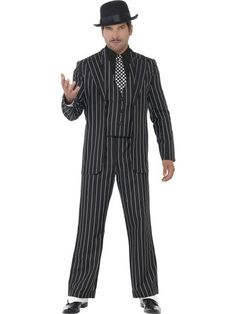 You can purchase a Men's Vintage Gangster Boss Costume from the Halloween Spot. This black costume comes with Jacket, Trousers, Waistcoat, Mock Shirt and Tie. Great Gatsby Fancy Dress, Gangster Fancy Dress, Mafia, Gangster Costumes, Flapper Costume, Black Costume, Pinstripe Suit, Costume Shop, Frankenstein