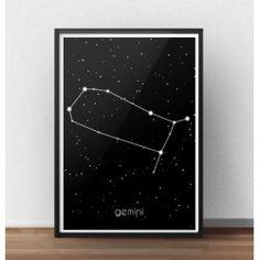 Poster gwiazdozbiór Bliźnięta (Gemini)  http://scandiposter.pl/plakaty/152-plakat-ze-znakiem-zodiaku-bliznieta-i.html