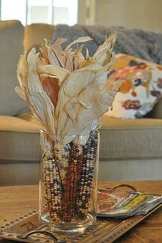 Easy Indian Corn Centerpiece   DIY Ideas for Indian Corn To Decorate Your House…