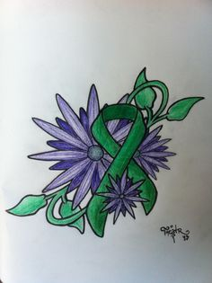 Ribbon Tattoo by Theatr7.deviantart.com on @deviantART. Green Ribbon: Kidney Disease Awareness