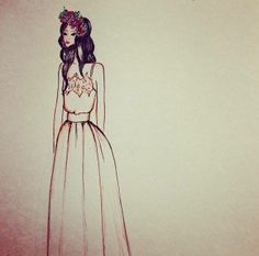 Boceto vestido de novia. Bride fashion illustration