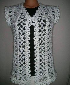 116 Grain Mesh Damenweste Modelle All-Beautiful 41 # Damen & # Kleidung Crochet Bolero Pattern, Crochet Jacket, Crochet Blouse, Knit Crochet, Crochet Patterns, Diy Crafts Knitting, Diy Crafts Crochet, Knit Baby Dress, Herringbone Stitch