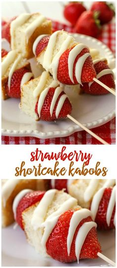 Simple and delicious Strawberry Shortcake Kabobs! (I'd sub pound cake and regular chocolate.) Simple and delicious Strawberry Shortcake Kabobs! (I'd sub pound cake and regular chocolate. Snacks Für Party, Party Desserts, Party Appetizers, Fruit Party, Bridal Shower Appetizers, Appetizer Ideas, Healthy Appetizers, Birthday Appetizers, Simple Appetizers