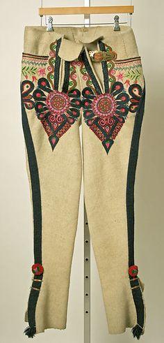 Poland, man's ensemble, embroidered felt wool, leather, c Folk Clothing, Historical Clothing, Folk Costume, Costumes, Polish Folk Art, Islamic Dua, Ethnic Outfits, Central Europe, My Heritage