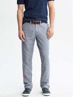Straight-Fit Linen-Cotton Pant
