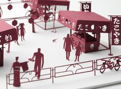 How cool is this? A model of Japanese festival stalls, designed by Naoki Terada. #Paper #art