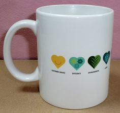 One United Parcel Service UPS Logo We Heart Love Logistics Ceramic Coffee Mug Cup  Has 10 different heart shaped icons with the words   Customer Service, Efficiency, Environmental, Global, Healthcare, International/Air, Saves Money, Saves Time, Speed, and Technology under them  Measures 3 3...