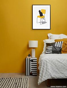 Sunny disposition - yellow brings out the best in other colours Gold Bedroom, Bedroom Wall, Bedroom Inspo, Bedroom Inspiration, Dream Bedroom, Bedroom Ideas, Paint Color Palettes, Wall Paint Colors, Bedroom Colour Palette