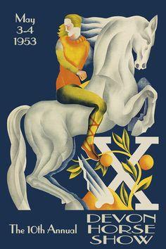 Horse Show 1953 Devon Horse Show Dressage Equestrian Sport Vintage Poster Repro FREE SHIPPING