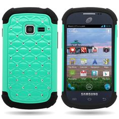 Amazon.com: CoverON® Hybrid Dual Layer Diamond Case for Samsung Galaxy Discover - Teal Hard Black Soft Silicone: Electronics