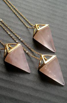 Rose Quartz Necklace Triangle