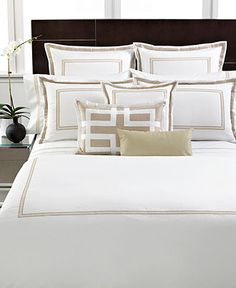 Hotel Collection Bedding, Tuxedo Embroidery Collection - Shop all Hotel Collection Bed & Bath - Bed & Bath - Macy's Room Ideas Bedroom, Bedroom Bed, Dream Bedroom, Home Decor Bedroom, Hotel Collection Bedding, Hotel Bed, Luxurious Bedrooms, Bedding Collections, Bed Spreads