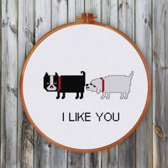 Funny Dog Love cross stitch pattern