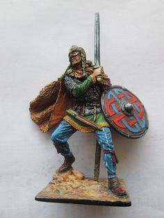 #1A- 54mm Russian Tin Toy Soldier Viking with Sword and Shield
