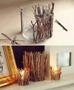 comment creer un vase avec bougies et branches en bois