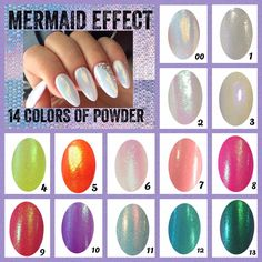 Mermaid #effect #nails different colors shimmer dust glitter #powder irridescent ,  View more on the LINK: http://www.zeppy.io/product/gb/2/172348170639/