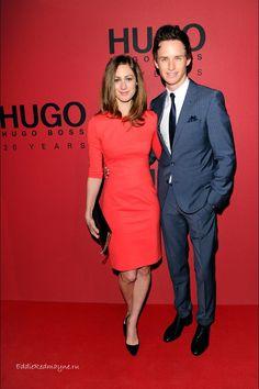 Eddie Redmayne at Hugo Boss Fashion Show with his girlfriend Jan 17 2013