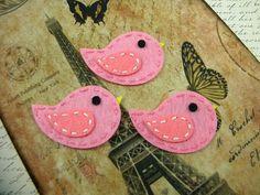 Set of 3 Pink Bird Felt Appliques  Wholesale by BoutiqueItems, $3.49