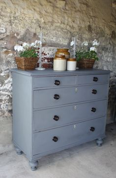 For Sale - Large Early Victorian Chest of Drawers Pigeon Grey www.sallywhitedesigns.com