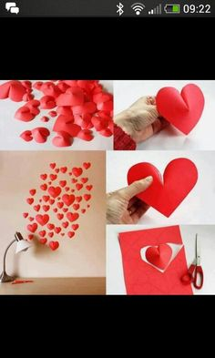 Inexpensive wall art. 3D paper hearts!