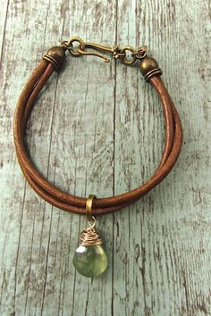 Handcrafted Bohemian Jewerly, Boho Leather Cord Bracelet, Hippie Chic Prehnite Bracelet