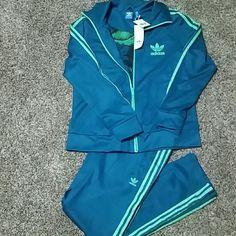 Adidas  Sweat Suit Europa TT,PT Womens track suit Teal Adidas Pants