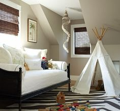 Minor changes in decor turn this playroom into a cozy guest space