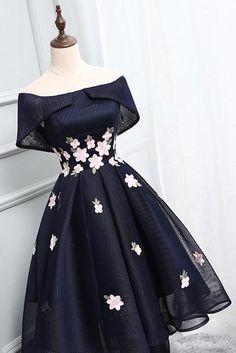 Off Shoulder Homecoming Dresses,Navy Blue Homecoming Dresses, Short Prom Dress, Navy Blue Homecoming Dress, Simple Homecoming Dresses, Prom Party Dresses, Simple Dresses, Elegant Dresses, Pretty Dresses, Beautiful Dresses, Dress Party, Wedding Dresses