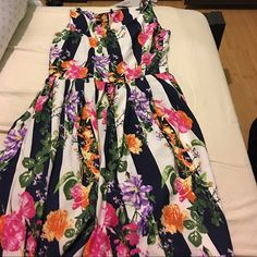 Dress Navy and White Floral Dress UK 12/US 8 Dresses Midi