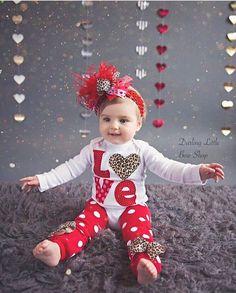 Baby Girl Valentine Outfit SET  Valentine by DarlingLittleBowShop