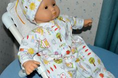 15 Inch Baby Doll Cotton Knit One Piece Footed Sleeper and Matching Cap by SEWSWEETDAISY