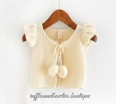 Girls/Baby Girls Fall Cream Pom pom butterfly sleeve knitted sweater vests k How To Start Knitting, Knitting For Kids, Baby Knitting Patterns, Sweater Vests, Baby Sweaters, Cotton Sweater, Cute Outfits With Leggings, Cute Outfits For Kids, Baby Girl Fall