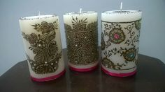 Beautiful custom made HENNA candles! WOW your family, friends, clients, colleagues, associates, neighbours with these one of a kind candles...  These candles are MADE TO ORDER. These candles can be CUSTOMISED to your family name, company name or any other specific greeting in mind.  #diwali #henna #candle #gift #custom #name #design #new #year #friends #family #colleagues #hand #made #madetoorder #unique #beautiful #WEDDING #favor #mehendi