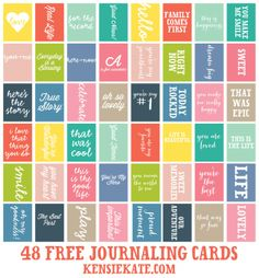 48 Free Journaling Cards round 3 of the celebrations » kensie kate