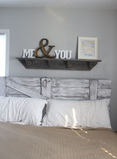 Love the Headboard and the shelf above the bed with ...me & you .