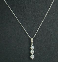 "14K WHITE GOLD (3) DIAMOND JOURNEY PENDANT NECKLACE .25 CT TW 19"" CHAIN 1.2g #Pendant"