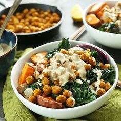 Flavorful, filling, 30-minute Buddha Bowl with sweet potatoes, chickpeas, kale, onion, and a tahini-maple sauce! A healthy and satisfying vegan meal.