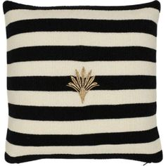 Kissenhülle - Cushion Cover - Knit Stripe Blackand White with Gold