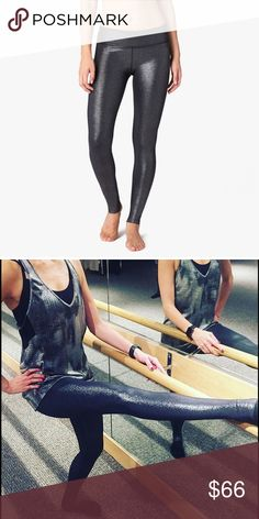 Beyond Yoga Shimmer Legging, in black-silver foil Fortune favors the bold and nothing is as wonderfully bold as these silvery, Shimmer Long Leggings. No outside seems Supplex interior waistband Signature waistband. The Shimmer Nylon is a durable moisture-wicking performance fabric with luxurious shine. Provides generous stretch and full recovery; retaining color and shape after every wash. 75% Nylon / 25% Spandex 4-way stretch Quick drying Moisture wicking Beyond Yoga Pants Leggings