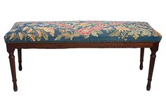 Antique Needlepoint Bench on OneKingsLane.com- pretty flora and fauna design keeps it from looking old-fashioned