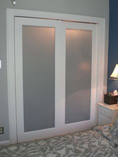 Small master bedroom closet re-do with sliding doors. To replace the outdated mirror closet doors Glass Closet, Home, Closet Bedroom, Closet Door Makeover, Frosted Glass Closet Doors, Closet Remodel, Frosted Glass Door, Bedroom Closet Doors, Remodel Bedroom