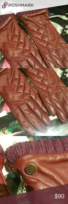 Nwt leather texting ugg gloves in maroon Size medium brand new. There is one finger that has some scuff shown in the last image. Authentic ugg. Will accept reasonable offers, PLEASE DO NOT SEND LOWBALL OFFERS! ! UGG Accessories Gloves & Mittens