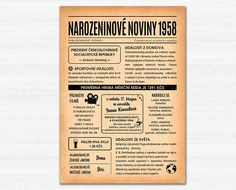 Narozeninové noviny 1958 - ročník, kdy jste se narodili | Lepilova.cz Event Ticket, Personalized Items
