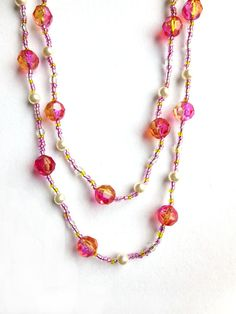 Long Pink Necklace / Double Wrap Necklace / Seed Bead Necklace