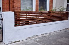 How To Create a Floating Cedar Wood Slat Fence - Step-By-Step Tutorial Cedar Wood Fence, Wood Fences, Fencing, Brick Rendering, Horizontal Slat Fence, Wall Panel Molding, House Fence Design, Masonry Paint, Small Front Gardens