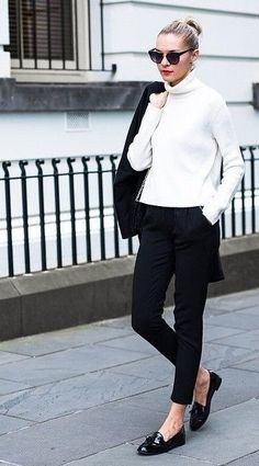 black and white winter outfits for work | PIN Blogger