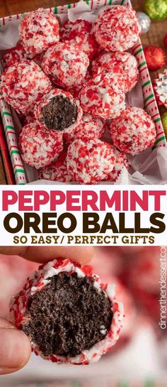 Balls are crushed Oreo cookies and cream cheese dipped in sweet chocolate then rolled in crushed peppermint candies.Oreo Balls are crushed Oreo cookies and cream cheese dipped in sweet chocolate then rolled in crushed peppermint candies. Christmas Snacks, Christmas Cooking, Holiday Treats, Holiday Recipes, Christmas Truffles, Easy Christmas Baking Recipes, Christmas Deserts Easy, Christmas Goodies, Healthy Christmas Treats