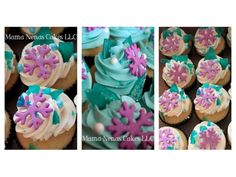 Disney's Frozen birthday cake: Purple Snowflake Cupcakes